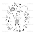 Illustration of a teacher in a cartoon style. Backgroundsymboli