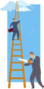 31771199-career-sabotage-a-man-sawing-a-career-ladder-under-his-more-successful-co-worker-vector-illustration