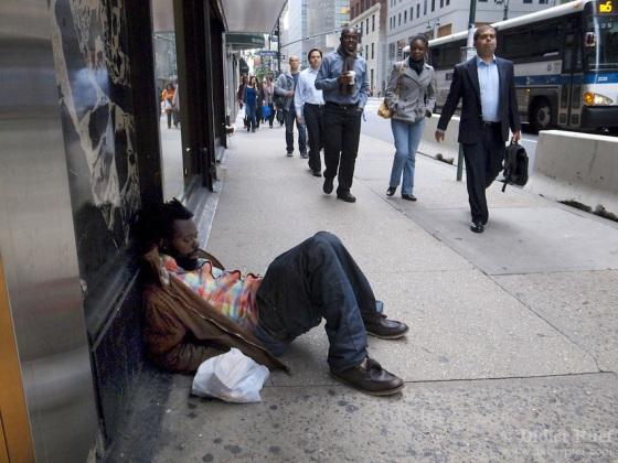 New York City. Homeless man.